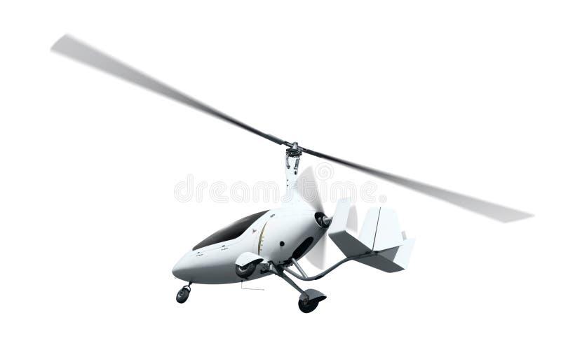 Autogiro i flykten med roterande propellrar arkivbilder