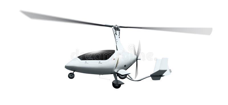 Autogiro i flykten med roterande propellrar royaltyfri foto