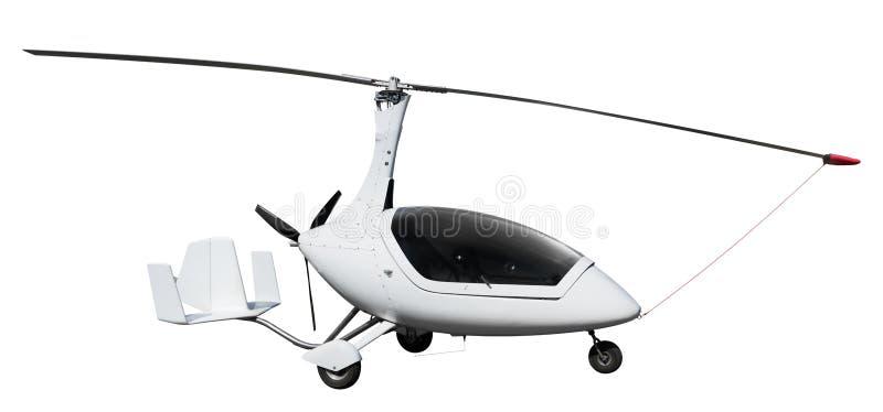 Autogiro ou gyrocopter branco foto de stock royalty free