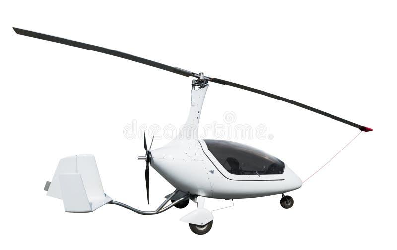 Autogiro ou gyrocopter branco imagens de stock