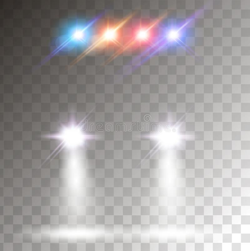 Autogloed met kleurrijk sireneeffect Realistische autokoplampen stock illustratie