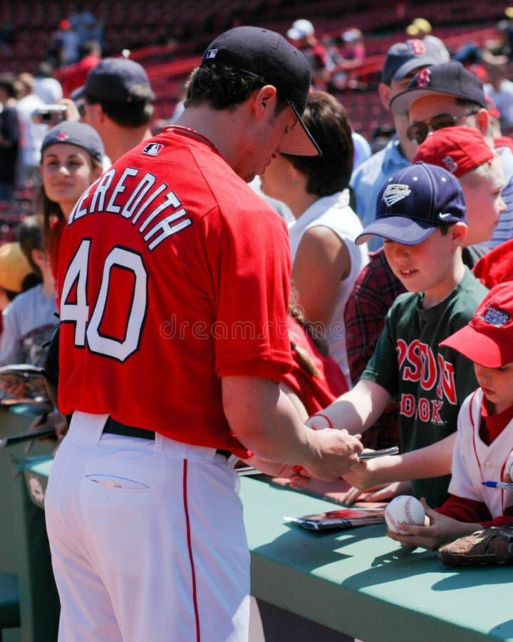 Autografer för tecken för Red Sox kannaCla Meredith royaltyfri foto