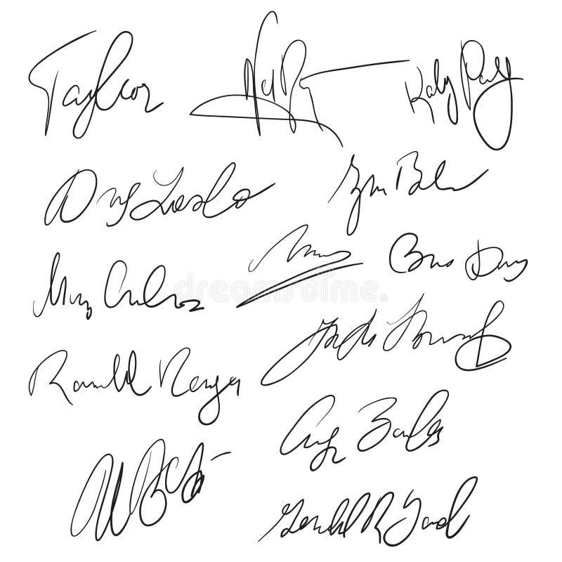 Autografu pióra ręcznie pisany podpisy dla doręczeniowych i biznesowych dokumentów wektoru zapasu ilustracja wektor