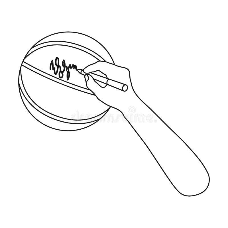Autographe sur une boule de panier Icône simple de basket-ball en Web d'illustration d'actions de symbole de vecteur de style d'e illustration de vecteur