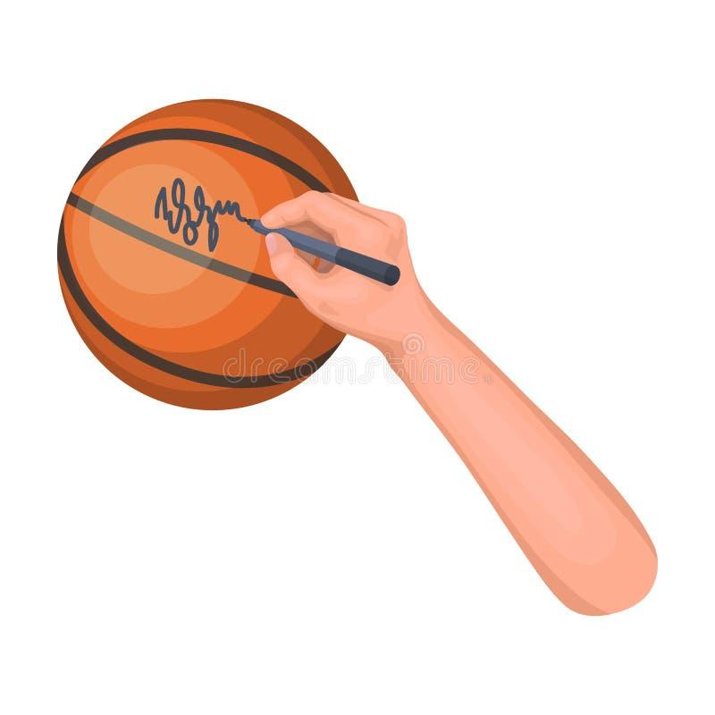 Autographe sur une boule de panier Icône simple de basket-ball en Web d'illustration d'actions de symbole de vecteur de style de  illustration de vecteur