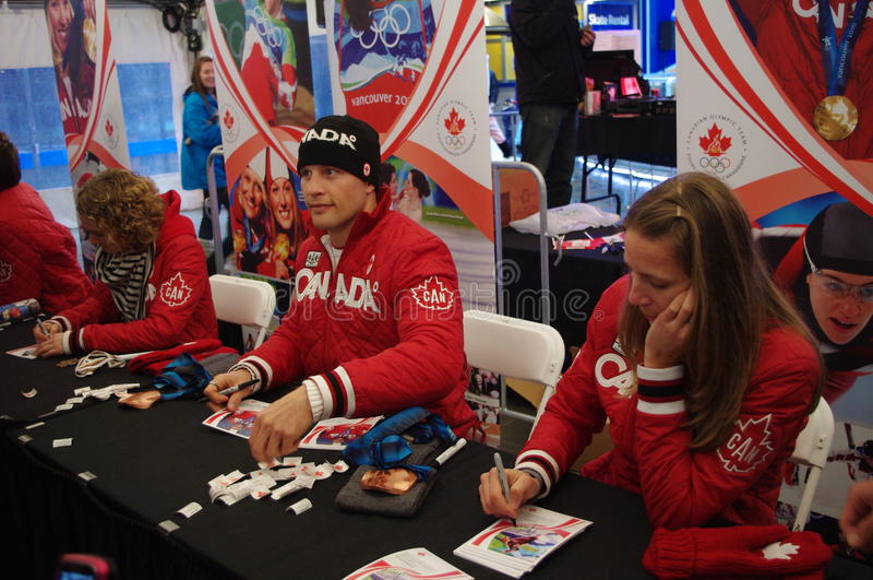 Autographs by Canadian Olympians royalty free stock photos