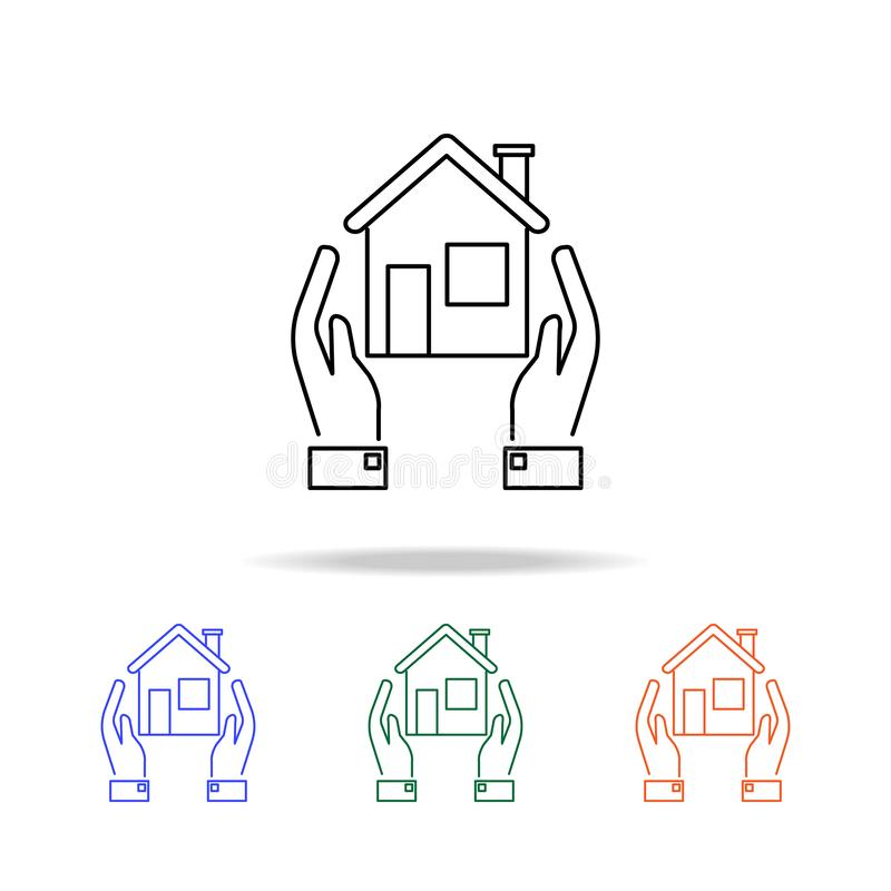 Autoguidez le graphisme Éléments des immobiliers dans les icônes colorées multi Icône de la meilleure qualité de conception graph illustration libre de droits