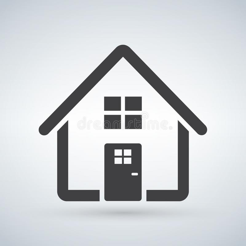 Autoguidez le graphisme Maison Entrez, le concept bienvenu Signe de bâtiment d'isolement sur le fond blanc Style plat à la mode p illustration de vecteur