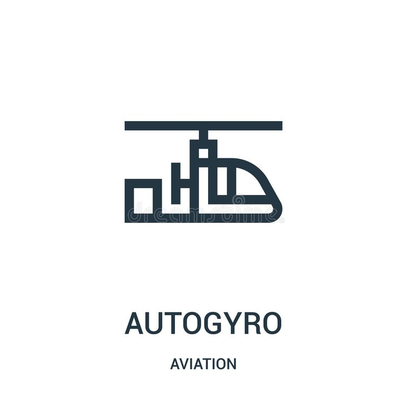 Autogyro icon vector from aviation collection. Thin line autogyro outline icon vector illustration. Linear symbol for use on web. And mobile apps, logo, print stock illustration