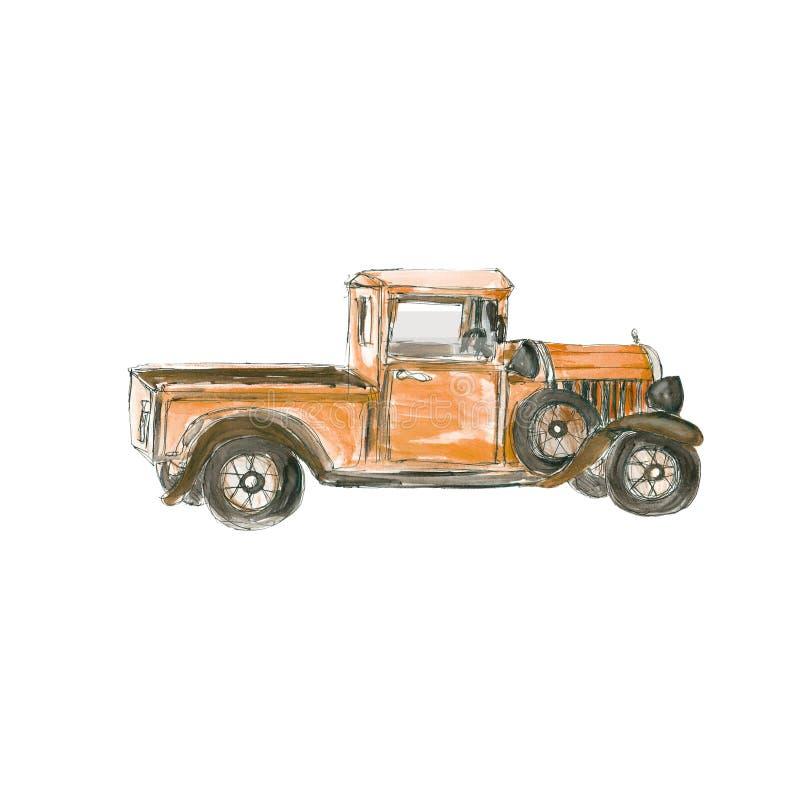 Autohippie steampunk Entwurf der Weinlese des viktorianischen Stils Retro- lokalisiert auf weißem Hintergrund lizenzfreie abbildung