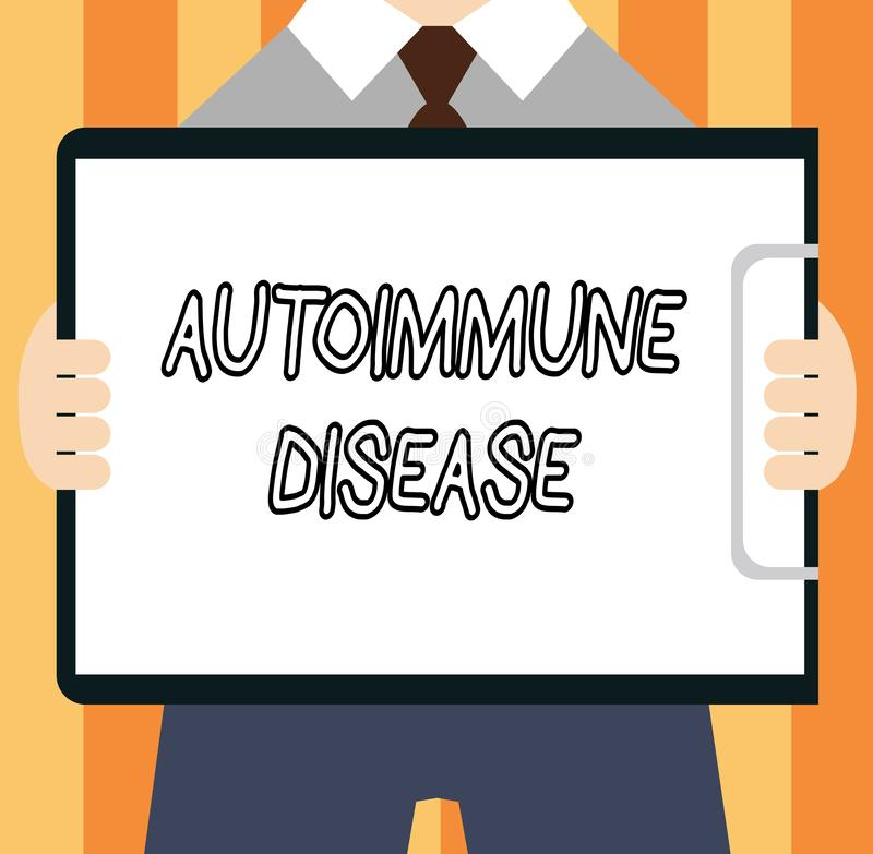 Autoimmune sjukdom för ordhandstiltext Affärsidé för ovanliga antikropper som uppsätta som mål deras egna kroppsilkespapper vektor illustrationer