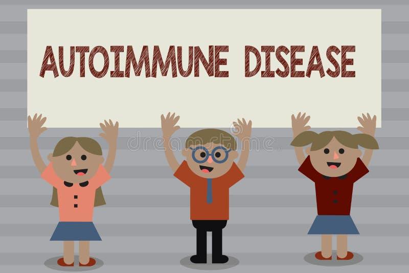 Autoimmune sjukdom för ordhandstiltext Affärsidé för ovanliga antikropper som uppsätta som mål deras egna kroppsilkespapper royaltyfri illustrationer