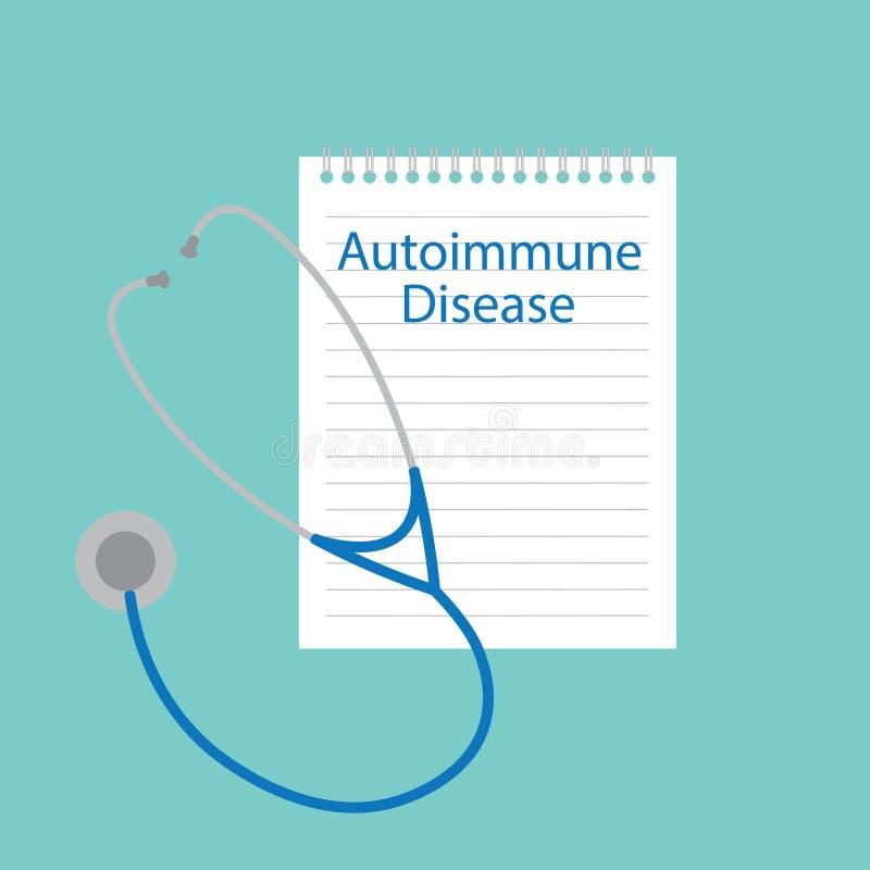 Autoimmune sjukdom som är skriftlig i en anteckningsbok vektor illustrationer