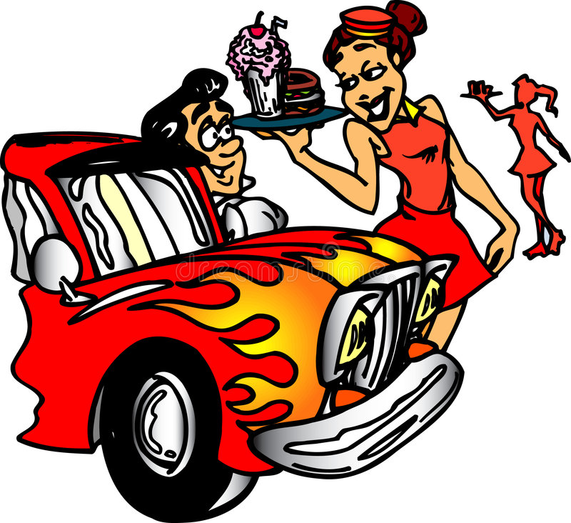 Autokino-Gaststätte lizenzfreie abbildung
