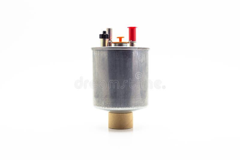 Autokraftstofffilter für Dieselmotor Getrennt auf einem weißen Hintergrund mit einem Ausschnittspfad lizenzfreies stockbild
