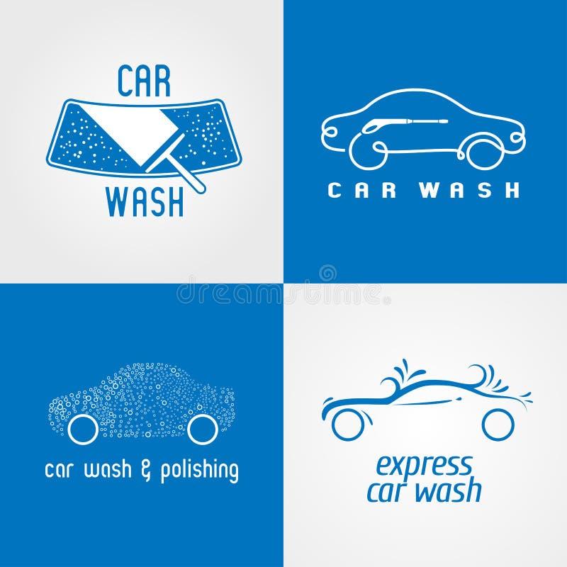 Autolavaggio, insieme dell'autolavaggio del logo di vettore, icona, simbolo, emblema illustrazione di stock