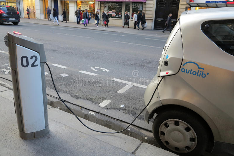 Autolib electric car charging stock photography