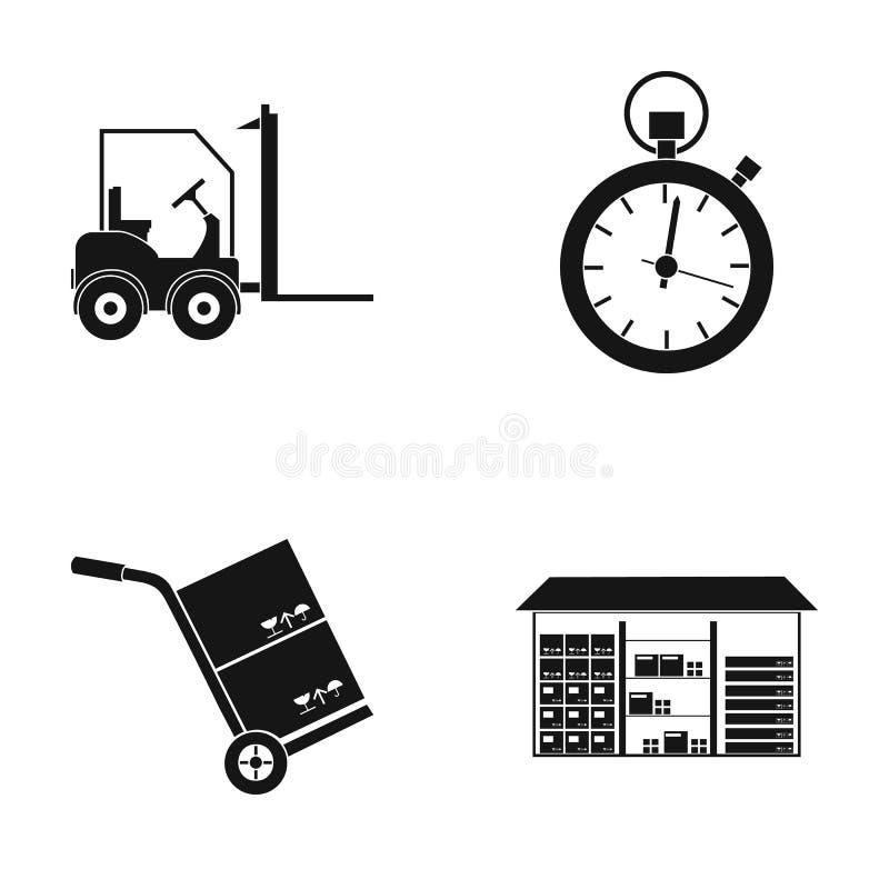 Autoloader, mercancías carretilla, cronómetro, almacén Logístico, fije los iconos de la colección en la acción negra del símbolo  stock de ilustración