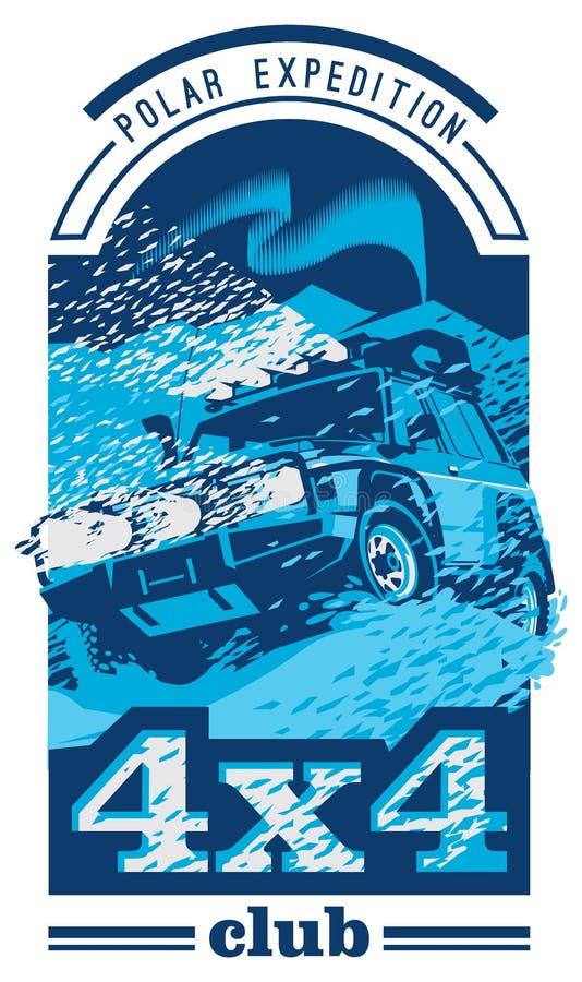 Autologo nicht für den Straßenverkehr, Safari suv, polares Expedition offroader lizenzfreie abbildung