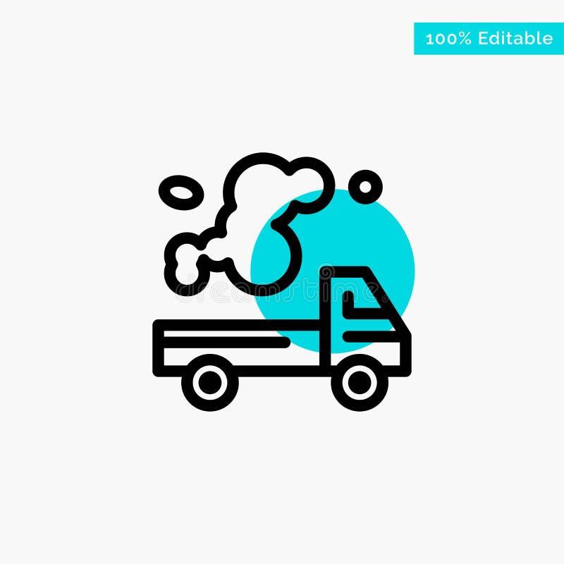 Automóvel, caminhão, emissão, gás, ícone do vetor do ponto do círculo do destaque de turquesa da poluição ilustração royalty free