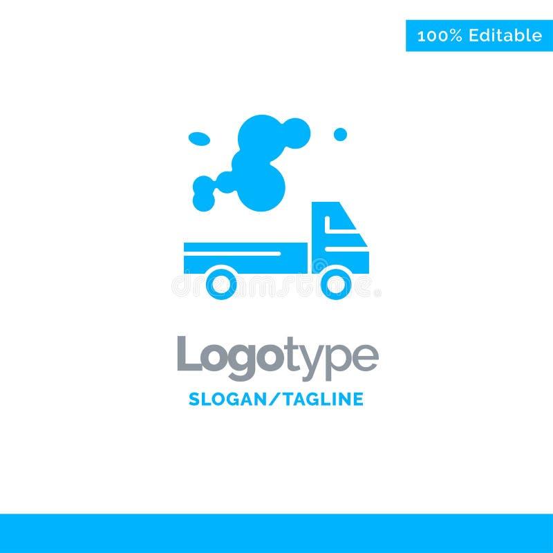 Automóvel, caminhão, emissão, gás, poluição Logo Template contínuo azul Lugar para o Tagline ilustração royalty free
