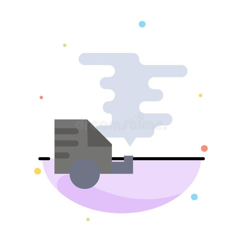 Automóvel, carro, emissão, gás, molde liso do ícone da cor do sumário da poluição ilustração do vetor