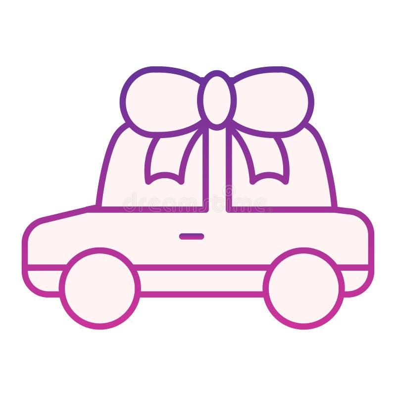 Automóvel com ícone liso da curva Ícones roxos do presente do carro no estilo liso na moda Projeto premiado do estilo do inclinaç ilustração royalty free