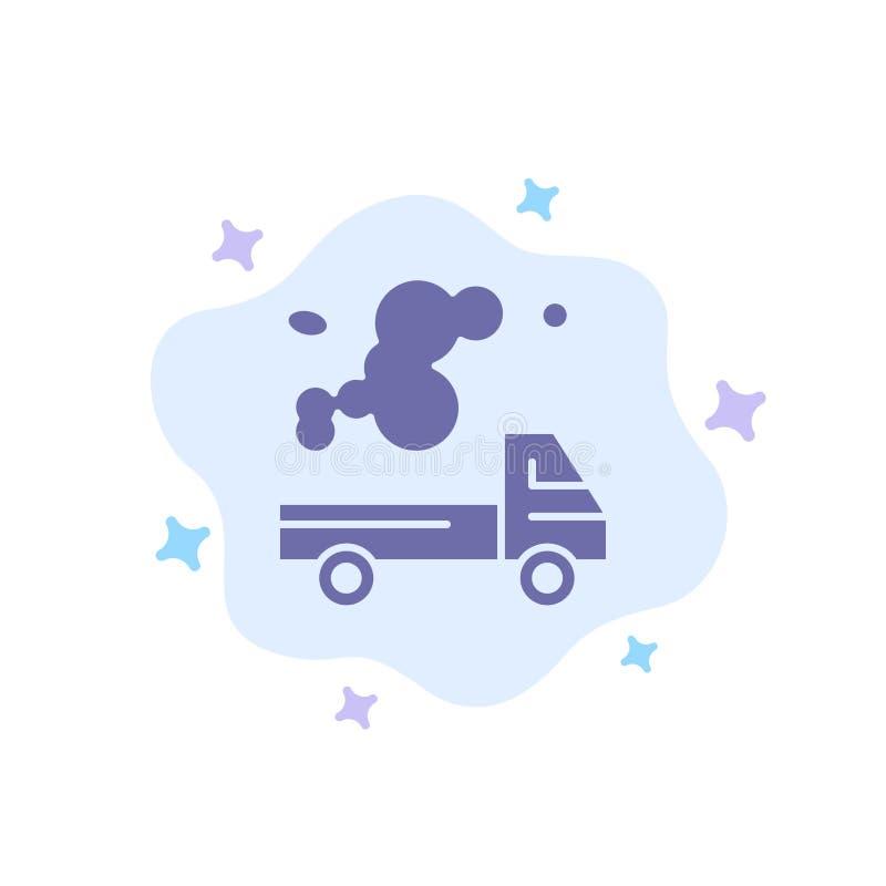 Automóvil, camión, emisión, gas, icono azul de la contaminación en fondo abstracto de la nube libre illustration