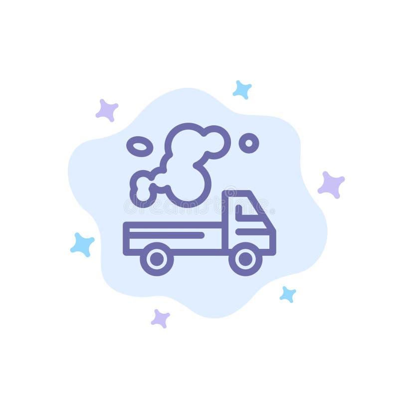 Automóvil, camión, emisión, gas, icono azul de la contaminación en fondo abstracto de la nube ilustración del vector