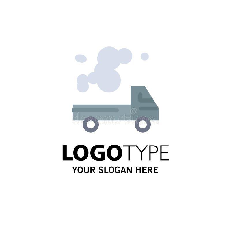 Automóvil, camión, emisión, gas, negocio Logo Template de la contaminación color plano stock de ilustración