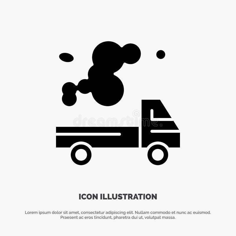 Automóvil, camión, emisión, gas, vector sólido del icono del Glyph de la contaminación ilustración del vector