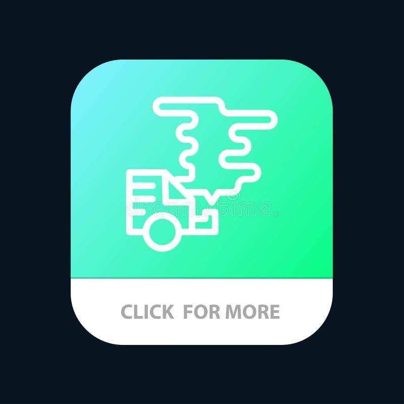 Automóvil, coche, emisión, gas, botón móvil del App de la contaminación Android y línea versión del IOS ilustración del vector