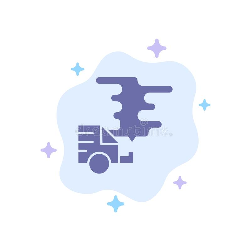 Automóvil, coche, emisión, gas, icono azul de la contaminación en fondo abstracto de la nube ilustración del vector