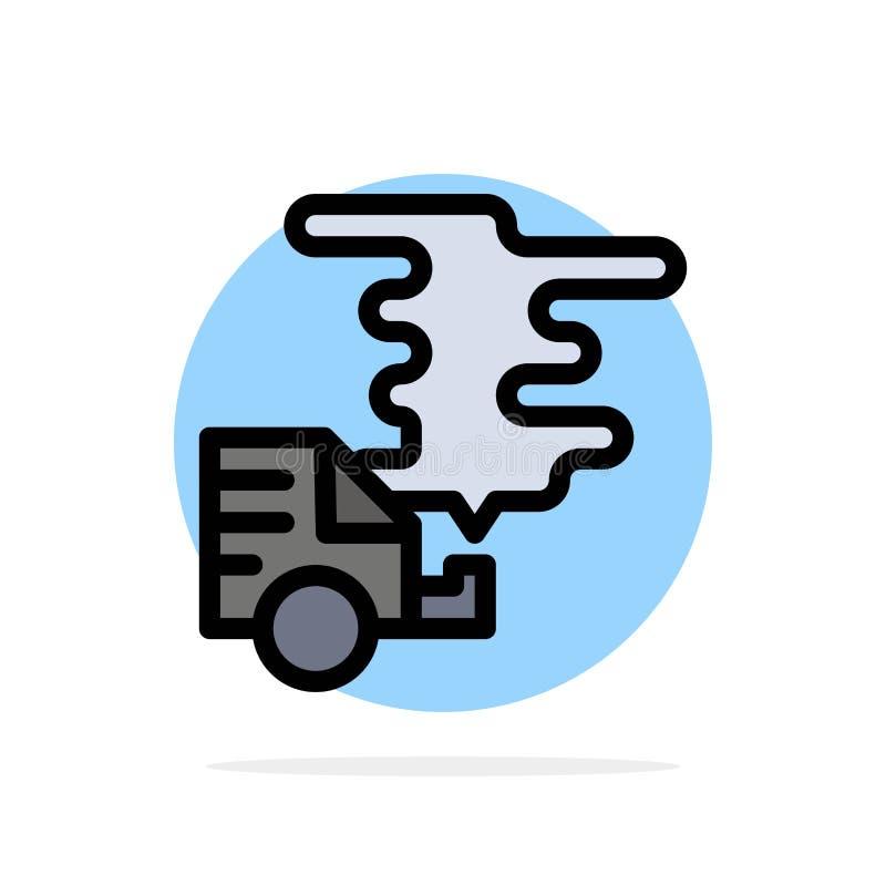 Automóvil, coche, emisión, gas, icono plano del color de fondo abstracto del círculo de la contaminación ilustración del vector