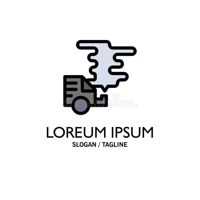 Automóvil, coche, emisión, gas, negocio Logo Template de la contaminación color plano libre illustration