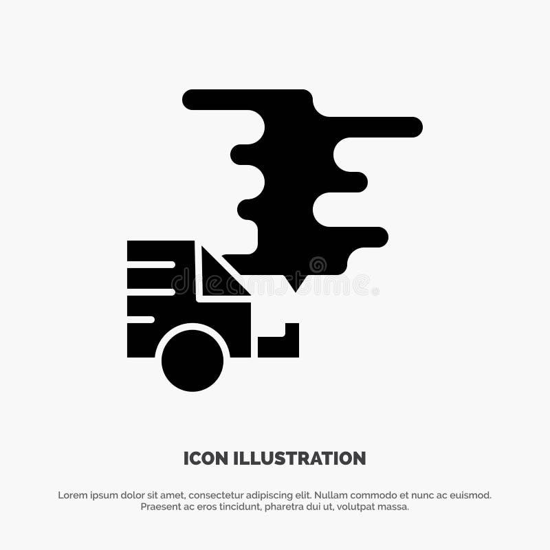 Automóvil, coche, emisión, gas, vector sólido del icono del Glyph de la contaminación ilustración del vector