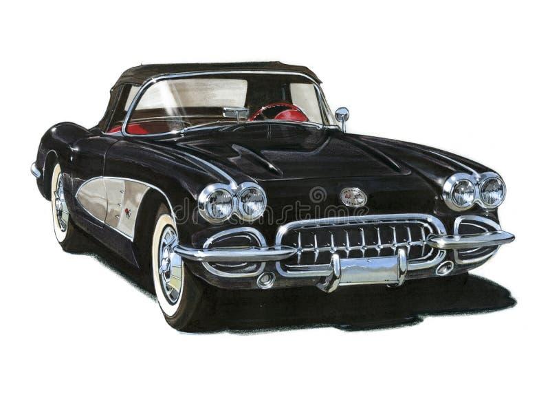 Automóvil descubierto 1959 de Chevrolet Corvette stock de ilustración