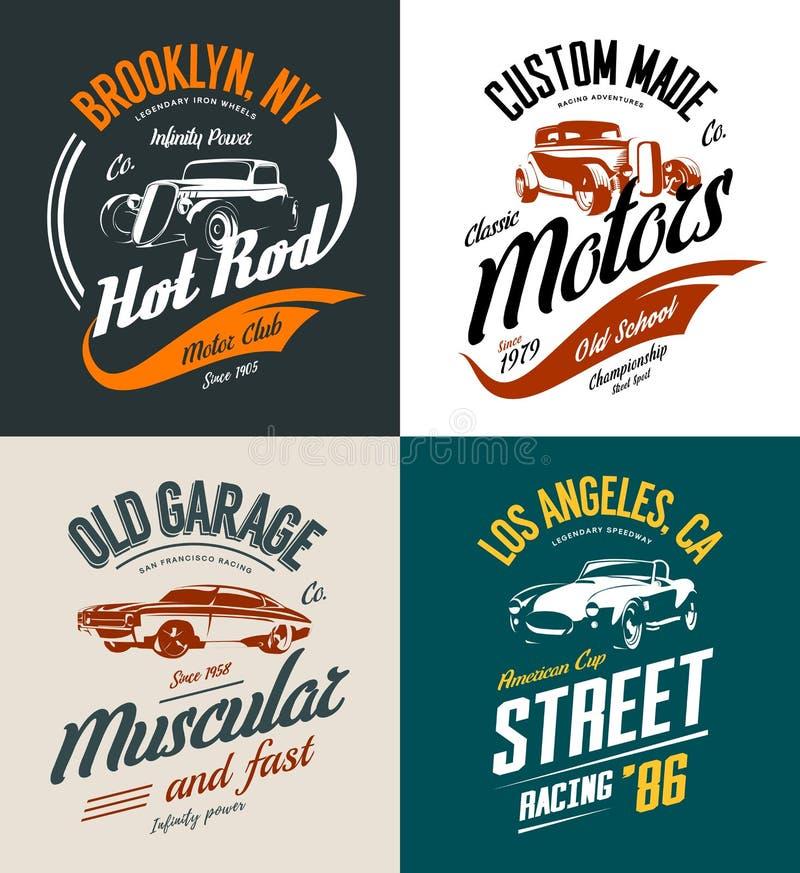 Automóvil descubierto del vintage, coche de carreras de encargo y sistema aislado logotipo de la camiseta del vector del coche de libre illustration