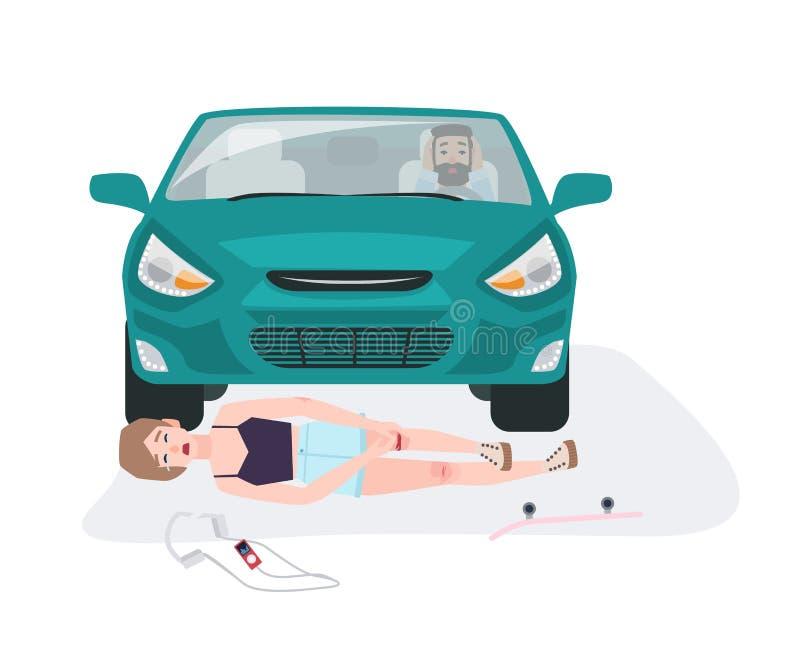 Automóvil que golpea abajo a la muchacha en el monopatín Colisión del tráfico con el skater implicado Coche o accidente de tráfic ilustración del vector