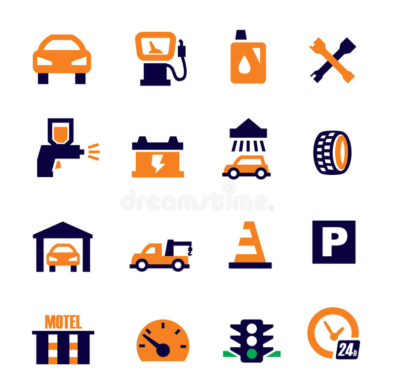 Automóvil y reparación stock de ilustración