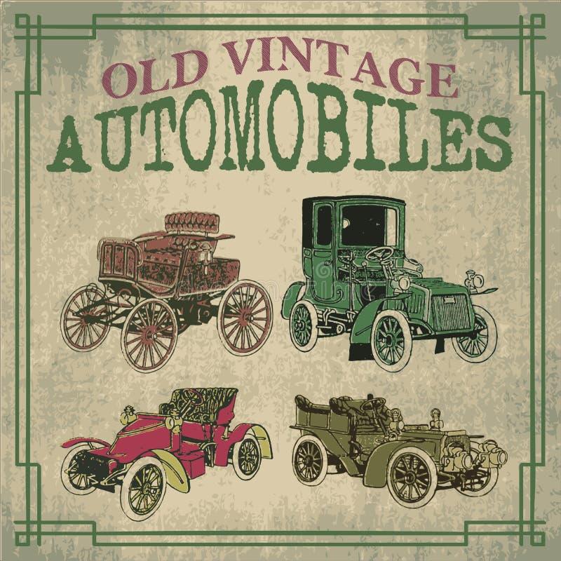Automóviles viejos del vintage stock de ilustración