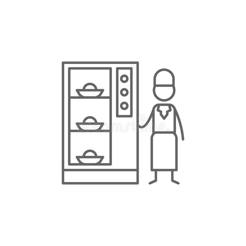 Automaat, kelnerspictogram Element van restaurantpictogram Dun lijnpictogram voor websiteontwerp en ontwikkeling, app ontwikkelin stock illustratie