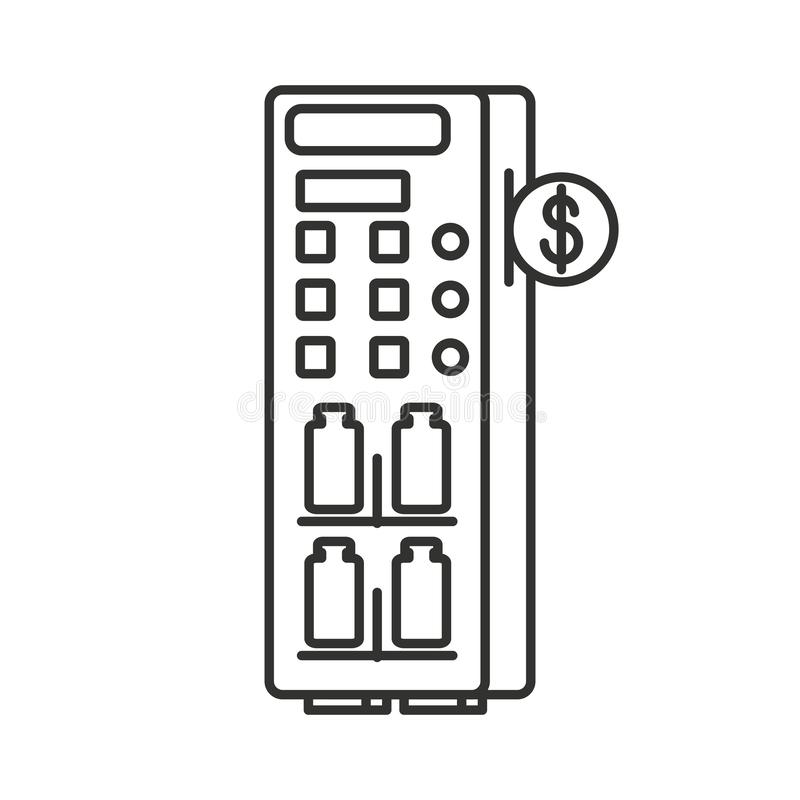 Automaat van gebotteld dranken geïsoleerd pictogram vector illustratie