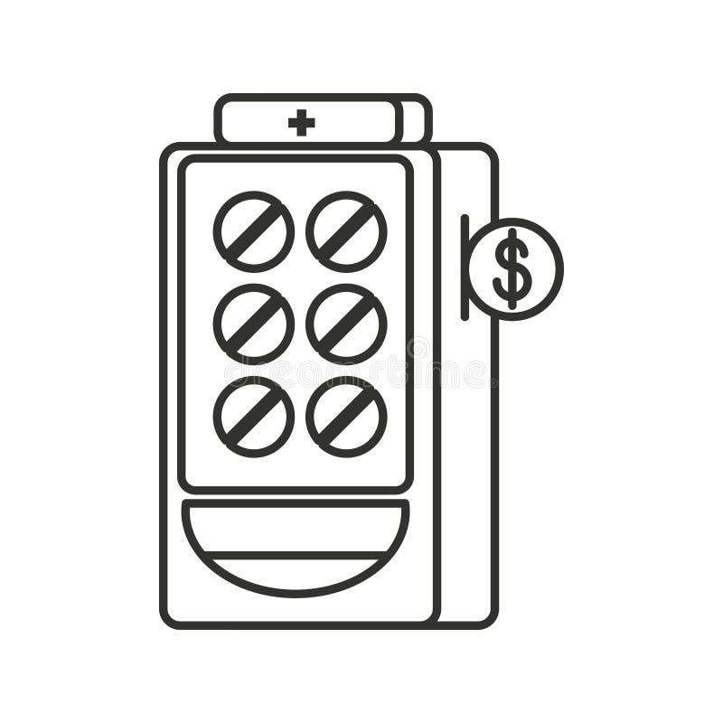 Automat der Medizin lokalisierten Ikone stock abbildung