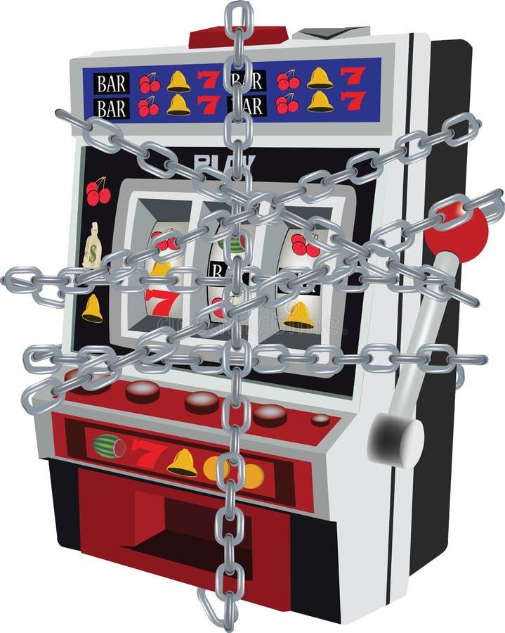 Automat Do Gier blokujący z łańcuchem royalty ilustracja