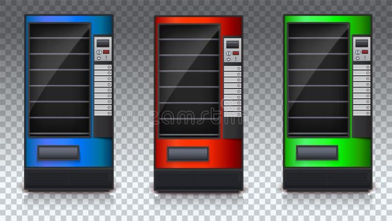 Automat für Snäcke oder Soda, Lebensmittel und Getränk mit leeren Regalen Satz des farbigen Automaten Automat des Grüns stock abbildung