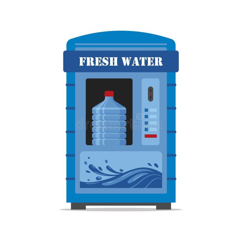 Automat mit dem Süßwasser lokalisiert auf weißem Hintergrund Automatischer Verkäufer der Vorderansicht der Automatverkäufermaschi stock abbildung