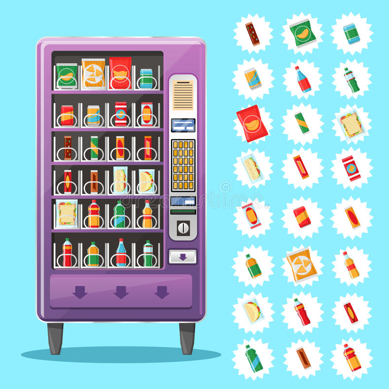Automat mit Erfrischungen Auch im corel abgehobenen Betrag lizenzfreie abbildung