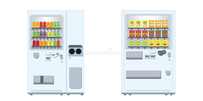 Automat mit Imbissen und Getränken stock abbildung