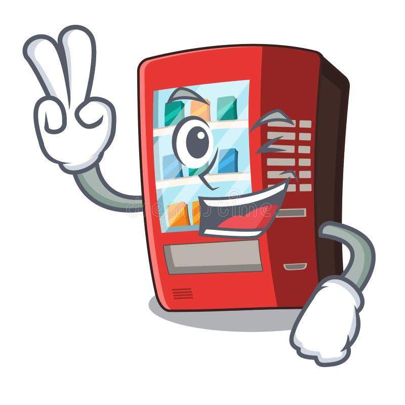 Automat mit zwei Fingern lokalisiert mit dem Maskottchen lizenzfreie abbildung
